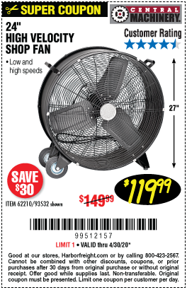 Harbor Freight Tools Coupons, Harbor Freight Coupon, HF Coupons-CENTRAL MACHINERY 24 in. High Velocity Shop Fan for $119.99