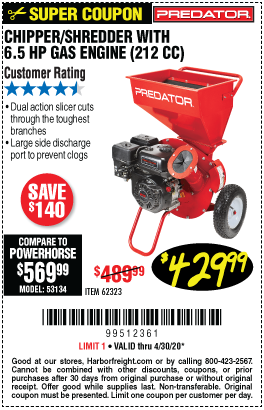 Harbor Freight Tools Coupons, Harbor Freight Coupon, HF Coupons-PREDATOR 6.5 HP (212cc) Chipper Shredder for $429.99
