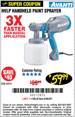 Harbor Freight Tools Coupons, Harbor Freight Coupon, HF Coupons-AVANTI Handheld HVLP Paint & Stain Sprayer for $59.99