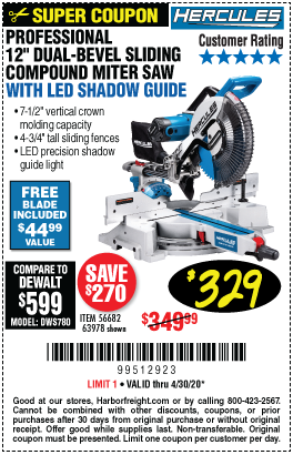 Harbor Freight Tools Coupons, Harbor Freight Coupon, HF Coupons-HERCULES 12 in. Dual-Bevel Sliding Compound Miter Saw with Precision LED Shadow Guide for $329