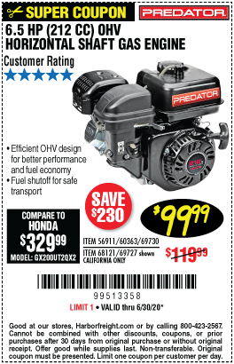 Harbor Freight Tools Coupons, Harbor Freight Coupon, HF Coupons-PREDATOR ENGINES 6.5 HP (212cc) OHV Horizontal Shaft Gas Engine for $99.99