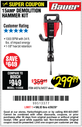 Harbor Freight Tools Coupons, Harbor Freight Coupon, HF Coupons-BAUER 15 Amp 35 lb. Pro Demolition Hammer Kit for $299.99