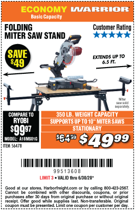 Harbor Freight Tools Coupons, Harbor Freight Coupon, HF Coupons-WARRIOR Universal Folding Miter Saw Stand For Saws Up To 10 In. for $49.99