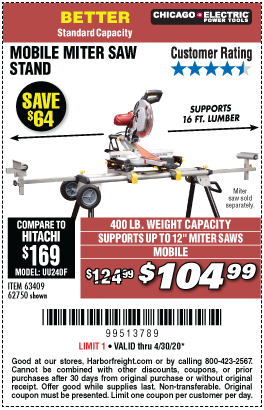 Harbor Freight Tools Coupons, Harbor Freight Coupon, HF Coupons-CHICAGO ELECTRIC Heavy Duty Mobile Miter Saw Stand for $104.99