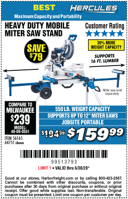 Harbor Freight Tools Coupons, Harbor Freight Coupon, HF Coupons-HERCULES Professional Rolling Miter Saw Stand for $159.99