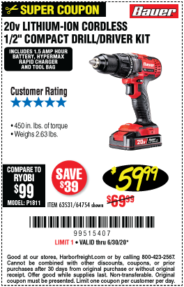 Harbor Freight Tools Coupons, Harbor Freight Coupon, HF Coupons-BAUER 20V Hypermax Lithium 1/2 In. Drill/Driver Kit for $59.99
