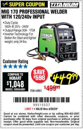 Harbor Freight Tools Coupons, Harbor Freight Coupon, HF Coupons-TITANIUM MIG 170 Professional Welder with 120/240 Volt Input for $449.99