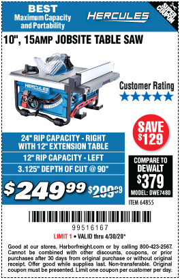 Harbor Freight Tools Coupons, Harbor Freight Coupon, HF Coupons-HERCULES 10 in. 15 Amp Compact Job Site Table Saw for $249.99