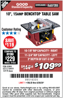 Harbor Freight Tools Coupons, Harbor Freight Coupon, HF Coupons-CHICAGO ELECTRIC 10 In. 15 Amp Benchtop Table Saw for $109.99