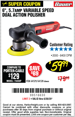 Harbor Freight Tools Coupons, Harbor Freight Coupon, HF Coupons-BAUER 6 in. 5.7 Amp Heavy Duty Dual Action Variable Speed Polisher for $59.99