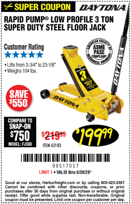 Harbor Freight Tools Coupons, Harbor Freight Coupon, HF Coupons-DAYTONA 3 Ton Low Profile Super Duty Rapid Pump Floor Jack for $199.99