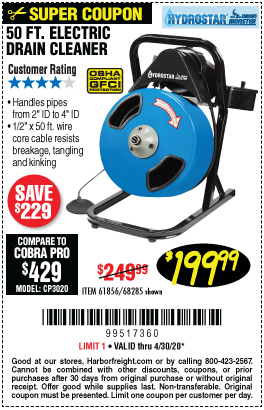 Harbor Freight Tools Coupons, Harbor Freight Coupon, HF Coupons-PACIFIC HYDROSTAR 50 Ft. Compact Electric Drain Cleaner for $199.99