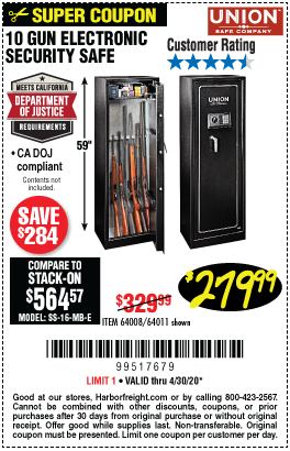Harbor Freight Tools Coupons, Harbor Freight Coupon, HF Coupons-UNION SAFE COMPANY 10 Gun Electronic Security Safe for $279.99