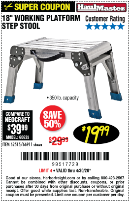 Harbor Freight Tools Coupons, Harbor Freight Coupon, HF Coupons-HAUL-MASTER 18 In. Working Platform Step Stool for $19.99