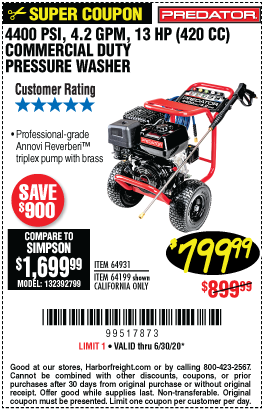 Harbor Freight Tools Coupons, Harbor Freight Coupon, HF Coupons-PREDATOR 4400 PSI 4.2 GPM 13 HP (420cc) Commercial Duty Pressure Washer CARB for $799.99