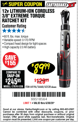 Harbor Freight Tools Coupons, Harbor Freight Coupon, HF Coupons-EARTHQUAKE XT 12V Max Lithium 3/8 In. Cordless Xtreme Torque Ratchet Wrench Kit for $89.99
