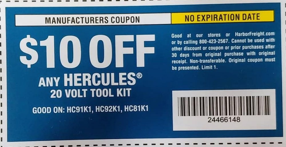 Harbor Freight Tools Coupons, Harbor Freight Coupon, HF Coupons-$10 OFF COUPON for Any HERCULES 20 Volt Tool Kit