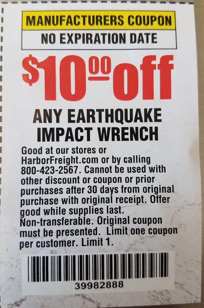 Harbor Freight Tools Coupons, Harbor Freight Coupon, HF Coupons-$10 off coupon for ANY earthquake impact wrench