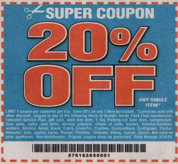 Harbor Freight Tools Coupons, Harbor Freight Coupon, HF Coupons-20% off coupon for any item
