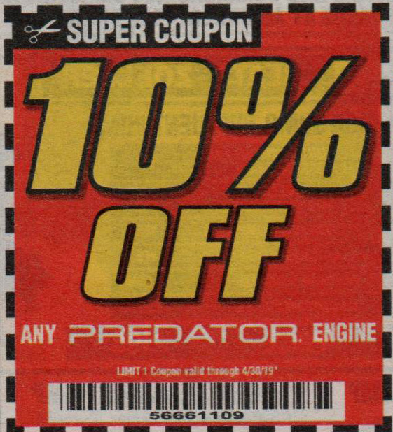 Harbor Freight Tools Coupons, Harbor Freight Coupon, HF Coupons-Any PREDATOR engine