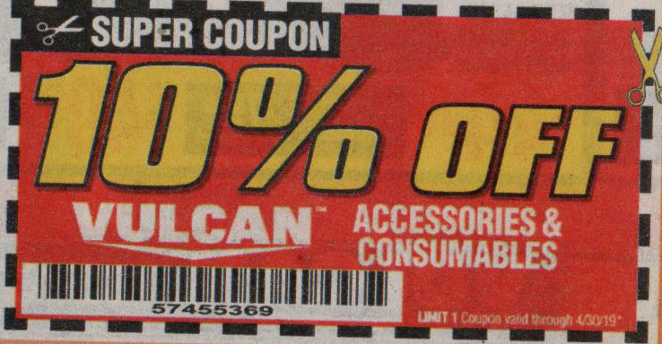Harbor Freight Tools Coupons, Harbor Freight Coupon, HF Coupons-VULCAN accessories & consumables