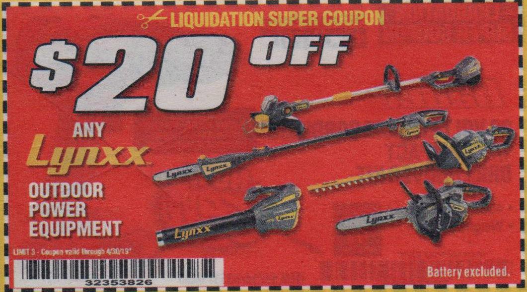 Harbor Freight Tools Coupons, Harbor Freight Coupon, HF Coupons-lynxx outdoor power equipment, item 64476,64718,63286,64478,74715,63287,64480,64717,63288,64477,64714,63289,64481,64716,63284,64475,64713,63285