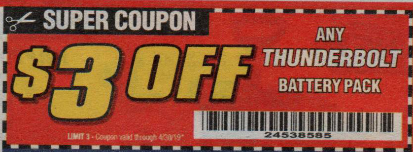 Harbor Freight Tools Coupons, Harbor Freight Coupon, HF Coupons-Any THUNDERBOLT battery pack