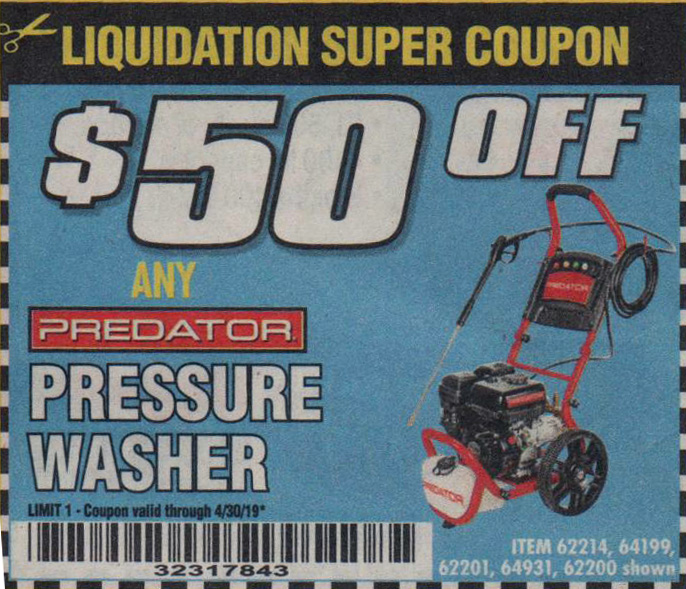 Harbor Freight Tools Coupons, Harbor Freight Coupon, HF Coupons-pressure washer, item 62214,64199,62201,64931,62200
