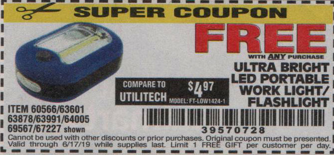 Harbor Freight Coupons, HF Coupons, 20% off - FREE - Led Portable Worklight/flashlight