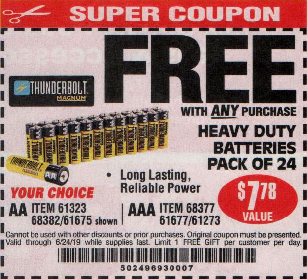 Harbor Freight Coupons, HF Coupons, 20% off - FREE - 24 Pack Heavy Duty Batteries