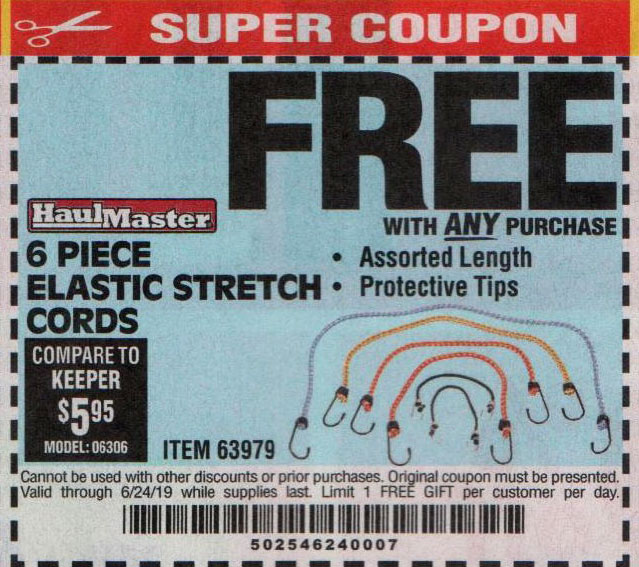 Harbor Freight Coupons, HF Coupons, 20% off - FREE - 6 Piece Elastic Stretch Cords