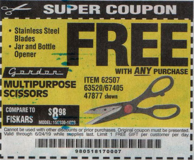 Harbor Freight Coupons, HF Coupons, 20% off - FREE - Multipurpose Scissors