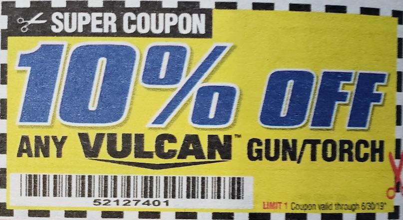 Harbor Freight Coupons, HF Coupons, 20% off - Any VULCAN gun/torch