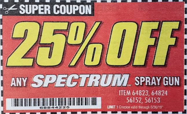 Harbor Freight Coupons, HF Coupons, 20% off - ANY SPECTRUM spray gun