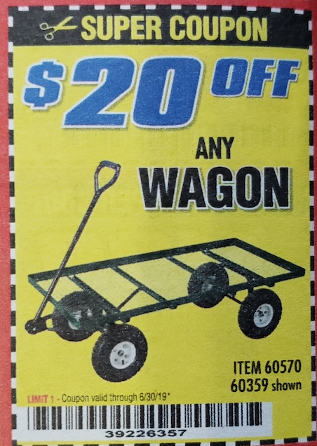 Harbor Freight Coupons, HF Coupons, 20% off - ANY WAGON $20 OFF