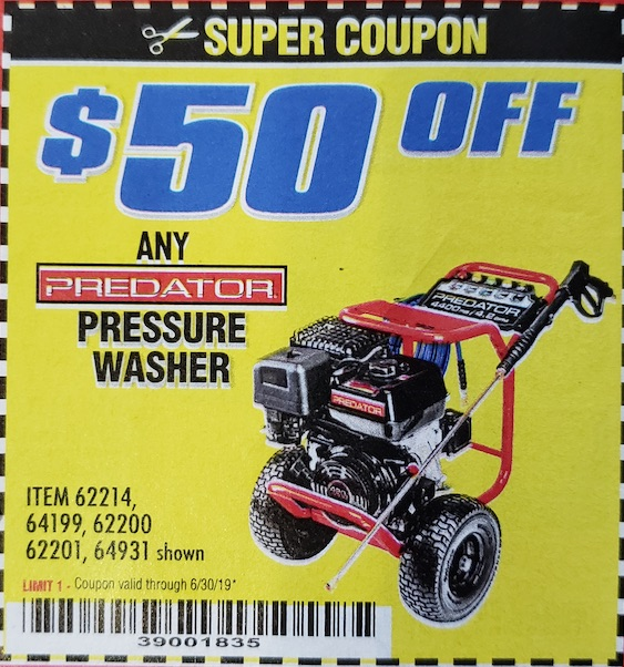 Harbor Freight Coupons, HF Coupons, 20% off - Any PREDATOR pressure washer $50 off