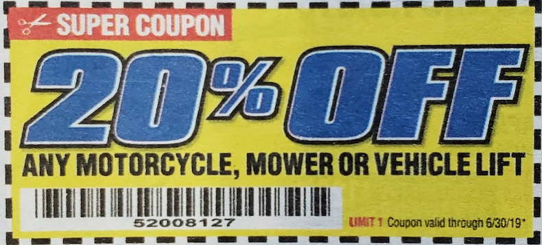 Harbor Freight Coupons, HF Coupons, 20% off - Any MOTORCYCLE,MOWER OR VEHICLE LIFT 20% OFF