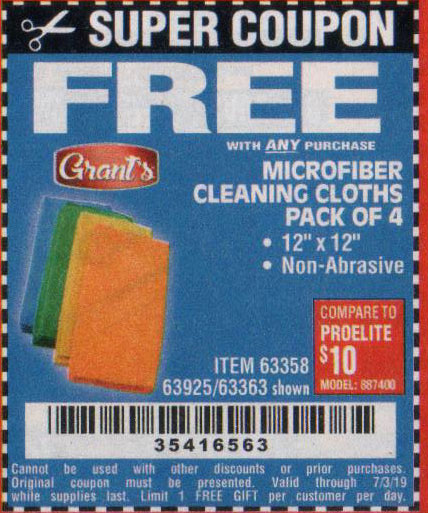 Harbor Freight Coupons, HF Coupons, 20% off - FREE - Microfiber Cleaning Cloths Pack Of 4