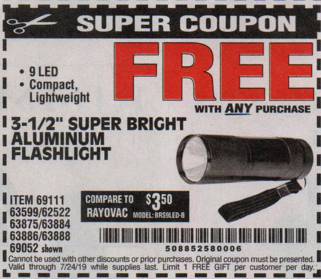 Harbor Freight Coupons, HF Coupons, 20% off - FREE - 3-1/2