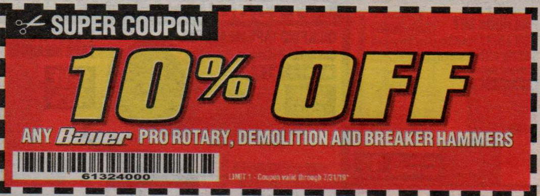 Harbor Freight Coupons, HF Coupons, 20% off - Any Bauer, 10% off