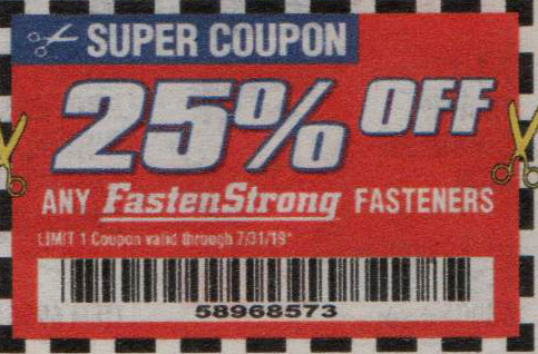 Harbor Freight Coupons, HF Coupons, 20% off - Any FastenStrong 25% off