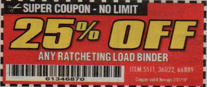 Harbor Freight Coupons, HF Coupons, 20% off - Any RATCHETING LOAD BINDER