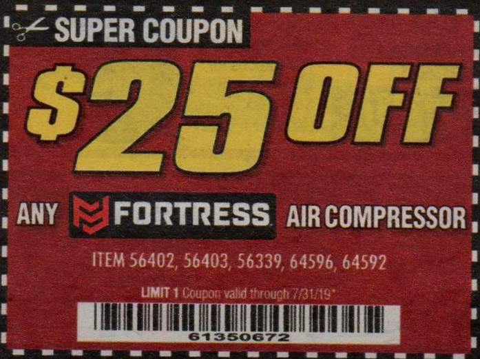 Harbor Freight Coupons, HF Coupons, 20% off - ANY FORTRESS AIR COMPRESSOR