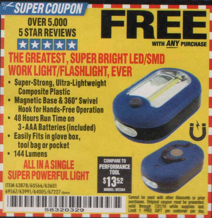Harbor Freight Coupons, HF Coupons, 20% off - FREE - FLASH LIGHT