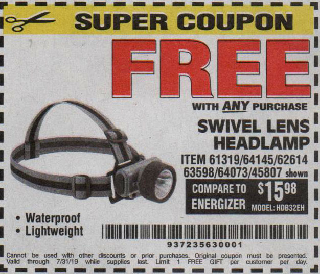 Harbor Freight Coupons, HF Coupons, 20% off - FREE - Headlamp With Swivel Lens