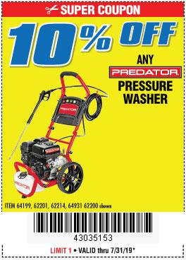 Harbor Freight Coupons, HF Coupons, 20% off - ANY PREDATOR PRESSURE