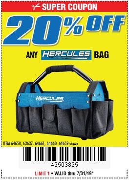 Harbor Freight Coupons, HF Coupons, 20% off - ANY HERCULES BAG