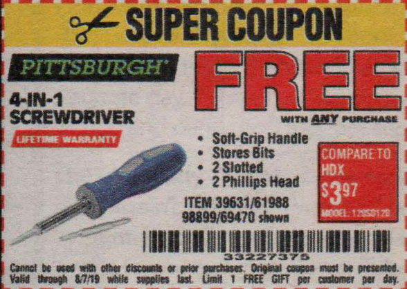 Harbor Freight Coupons, HF Coupons, 20% off - FREE - 4-in-1 Screwdriver