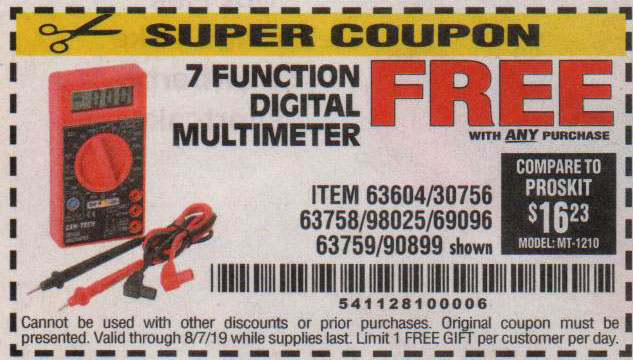 Harbor Freight Coupons, HF Coupons, 20% off - FREE - 7 Function Digital Multimeter