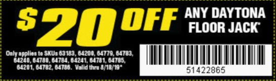 Harbor Freight Coupons, HF Coupons, 20% off - Any DAYTONA FLOOR JACK